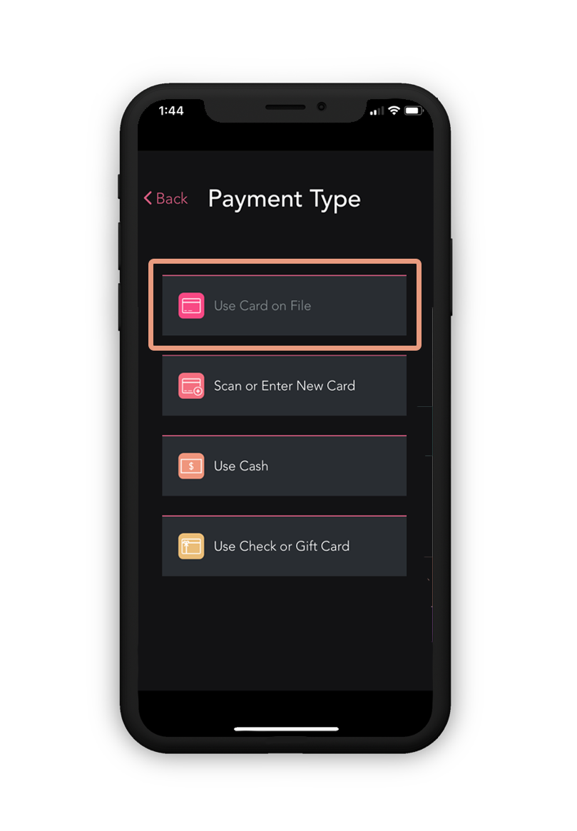 File Check Out Card charge a card on file – glossgenius